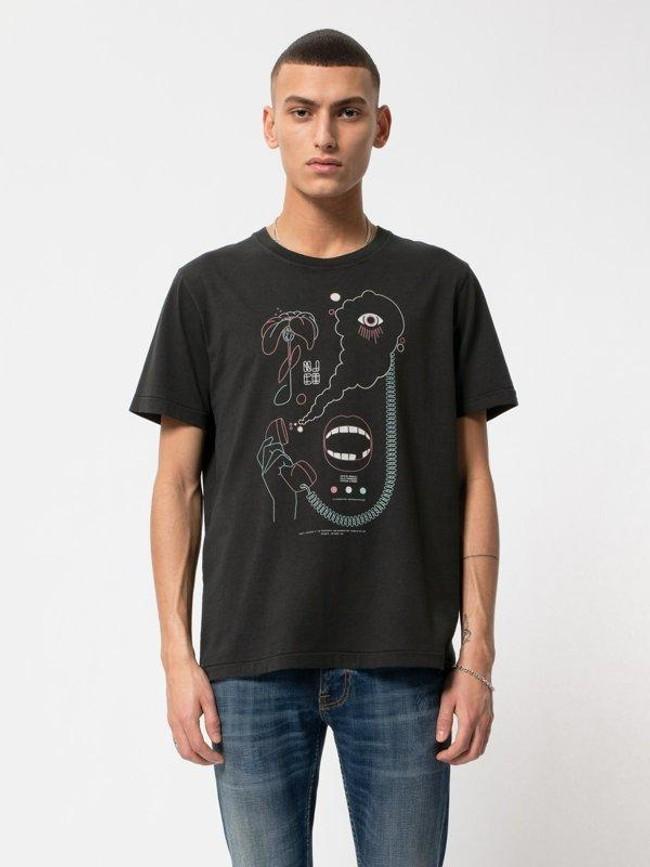 T-shirt noir imprimé en coton bio - roy smoke signals back - Nudie Jeans