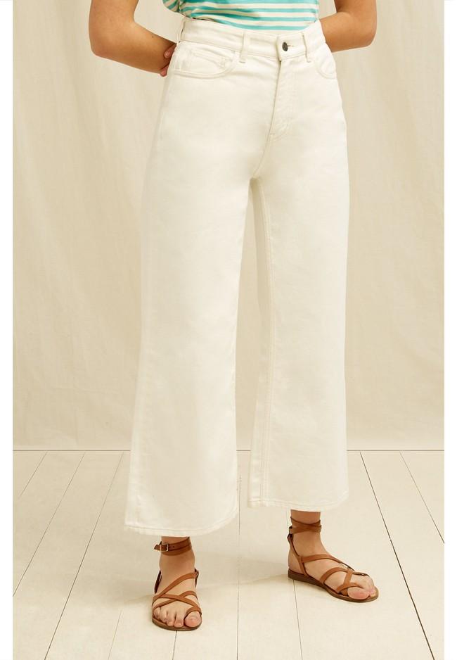 Jean ample crème en coton bio - ariel - People Tree num 1