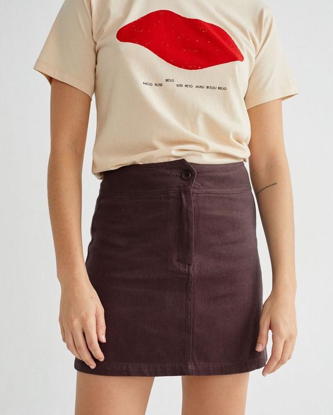 T-shirt imprimé écru en coton bio - beso - Thinking Mu