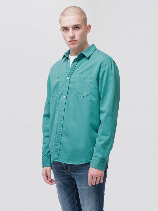 Chemise turquoise en coton bio - calle - Nudie Jeans num 1