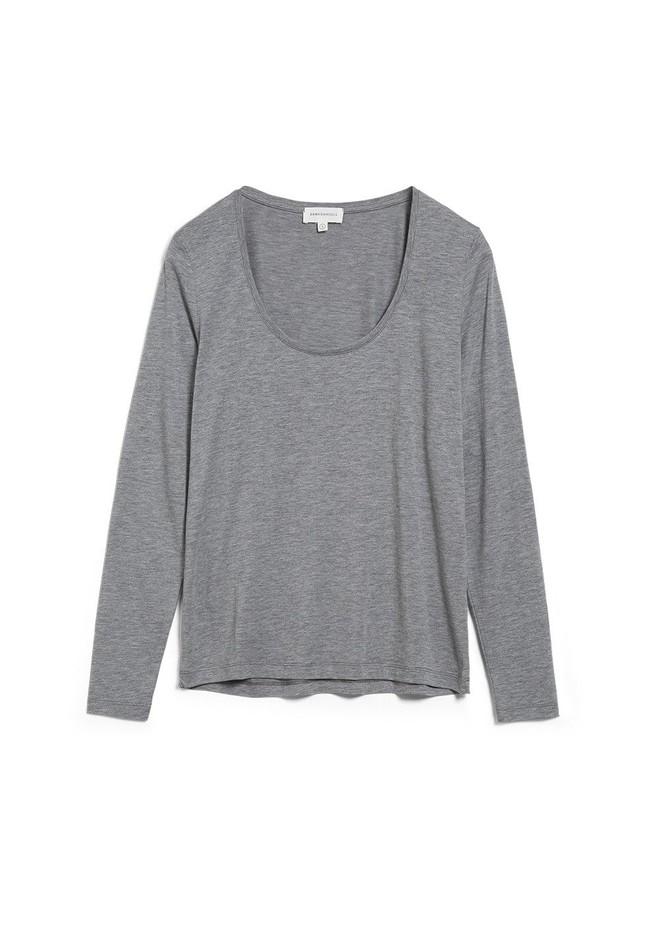 T-shirt manches longues gris en tencel et coton bio - jamaal - Armedangels num 4