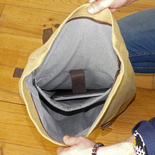 Sac à dos roll top en toile cirée et cuir - bosta - Bhallot num 8