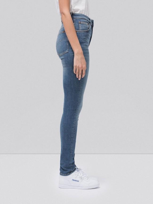 Jean skinny taille haute bleu clair délavé - hightop tilde mid indigo - Nudie Jeans num 2