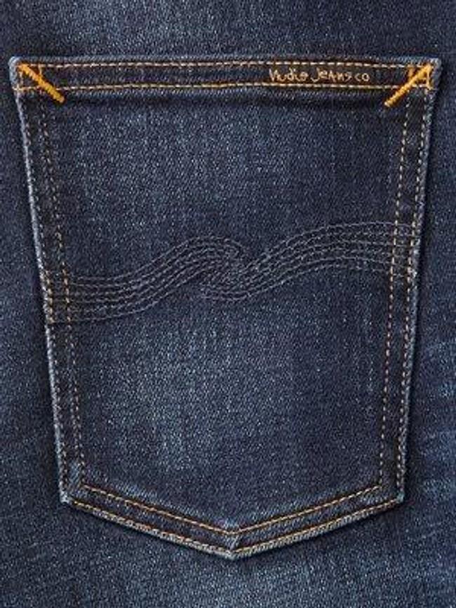 Jean slim délavé bleu foncé coton bio - lean dean dark deep worn - Nudie Jeans num 5