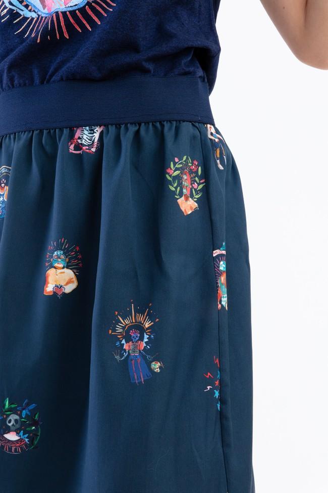 "Jupe ""facile"" motif mexico - Bleu Tango num 3"