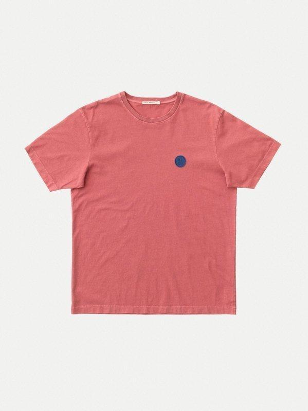 T-shirt ample corail logo bleu en coton bio - uno njco circle - Nudie Jeans num 4