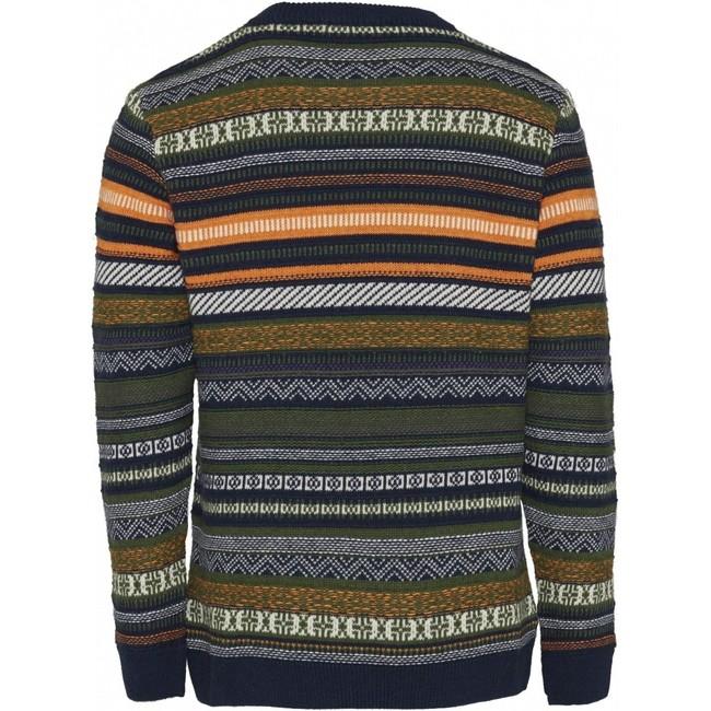 Pull jacquard multicolore en coton bio et laine - Knowledge Cotton Apparel num 1
