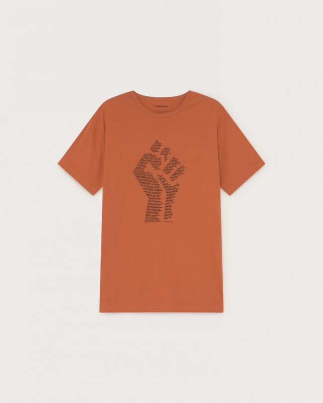 T-shirt imprimé terracotta en coton bio - human rights - Thinking Mu num 4