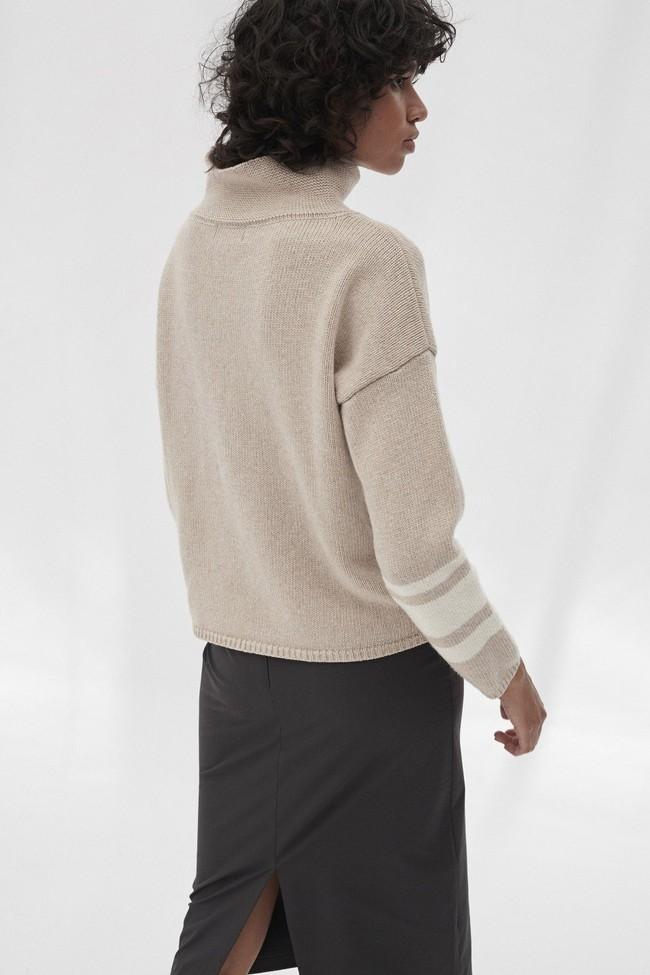 Pull en maille col haut beige en laine recyclée - dema - Ecoalf num 1