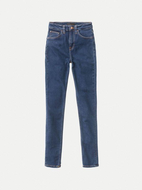 Jean skinny taille haute bleu en coton bio - hightop tilde light navy - Nudie Jeans num 5