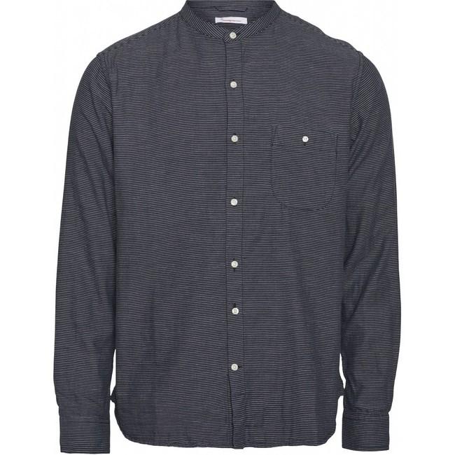Chemise col mao rayée bleu nuit en coton bio - larch - Knowledge Cotton Apparel