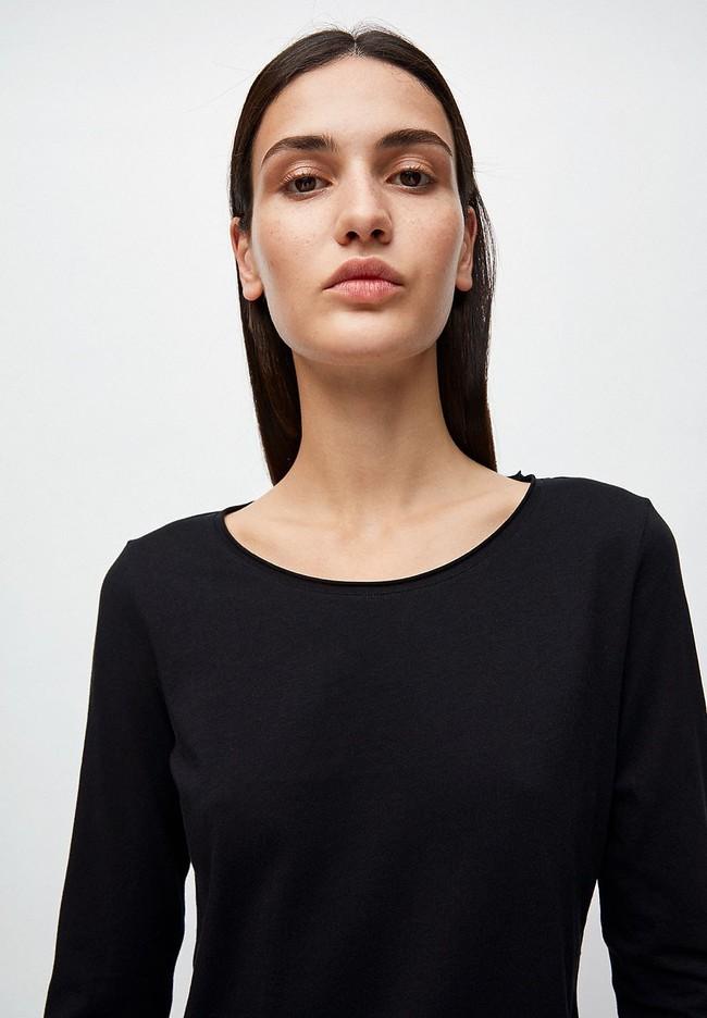 T-shirt manches longues noir en coton bio - rojaa - Armedangels num 3