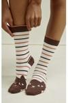 Chaussettes hautes rayées à motifs chats en coton bio - People Tree - 3