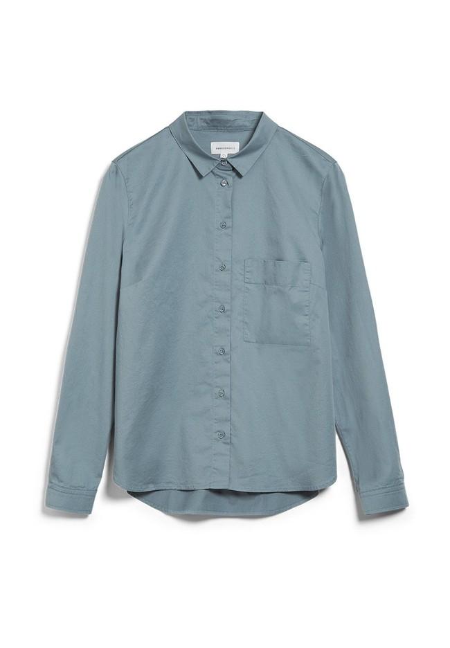 Chemise à manches longues bleue en coton bio - pernillaa - Armedangels num 4