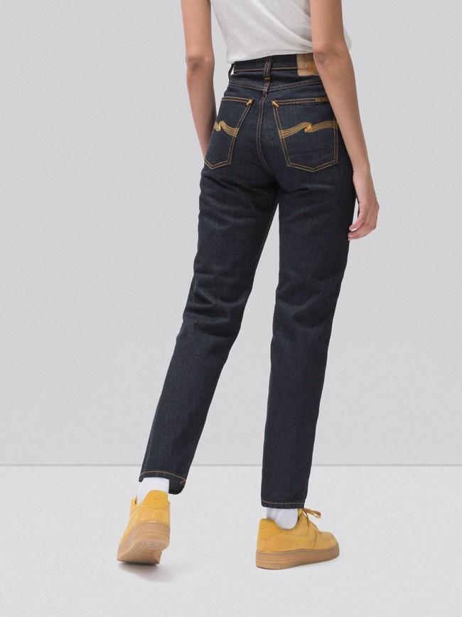 Jean droit taille haute brut en coton bio - breezy britt rinsed original - Nudie Jeans num 1