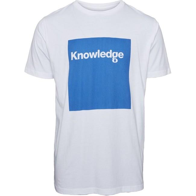 T-shirt imprimé blanc en coton bio - square logo - Knowledge Cotton Apparel