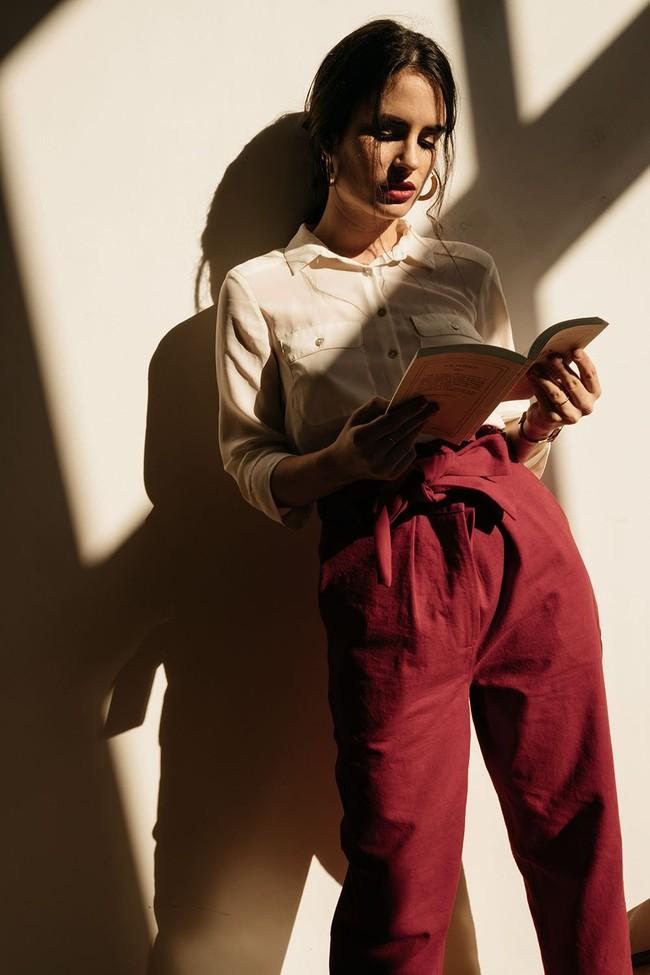 Pantalon  rouge en coton bio - Atelier Unes num 1