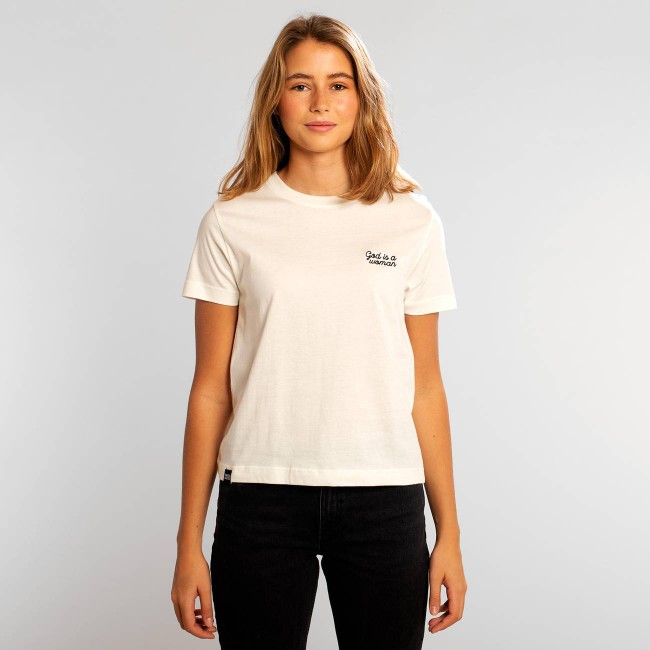 T-shirt blanc brodé - god is a woman - Dedicated