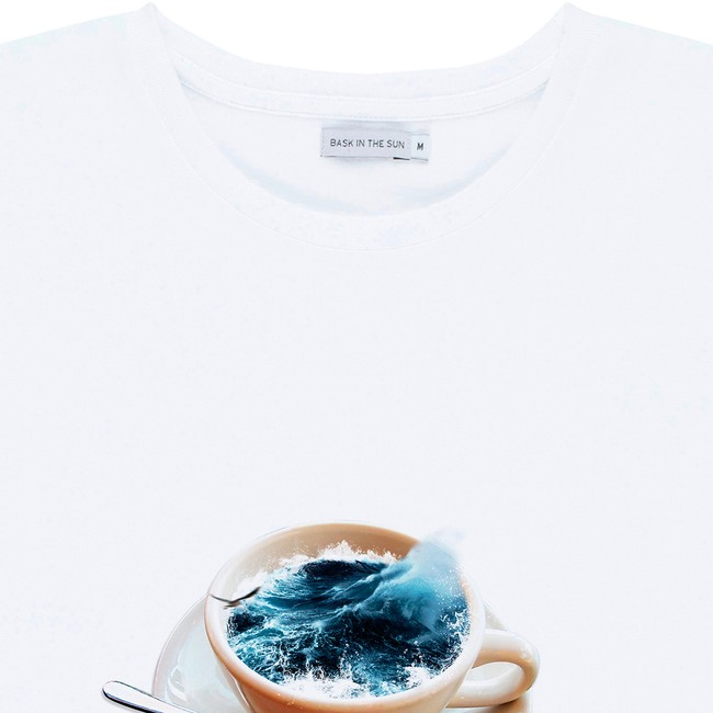 T-shirt en coton bio white cafe sale - Bask in the Sun num 1
