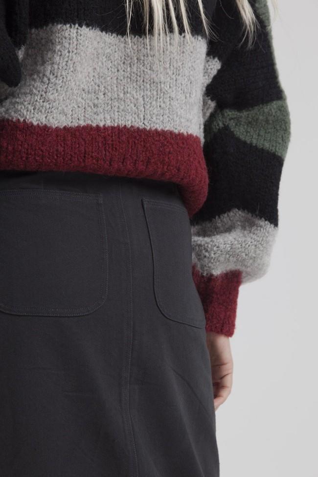 Jupe longue twill noire en coton bio - valentina - Thinking Mu num 2