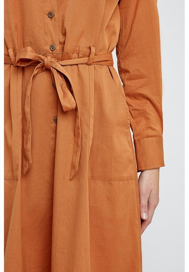Robe longue unie camel en coton bio – penny - People Tree num 6