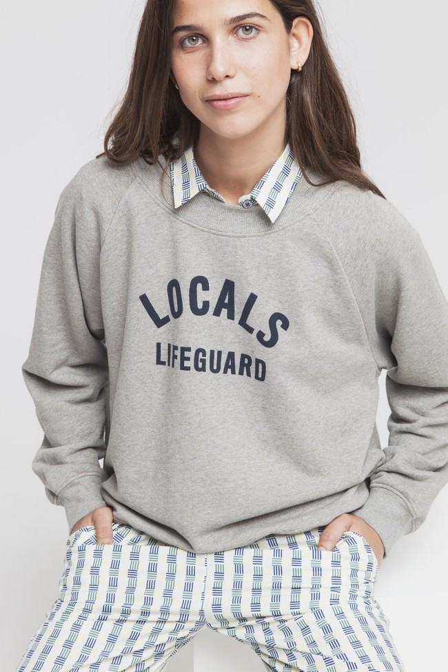 Sweat gris en coton bio - locals lifeguard - Thinking Mu