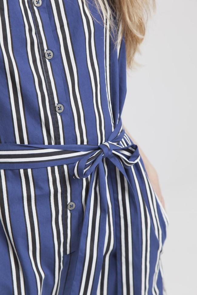 Combishort rayée bleue en coton bio - lilly - Thinking Mu num 5