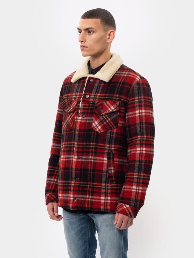 Veste sherpa carreaux rouge en laine recyclée - lenny - Nudie Jeans num 1