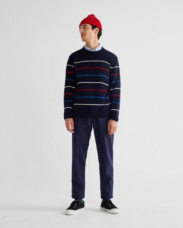 Pantalon ample marine en coton bio - travel - Thinking Mu num 1