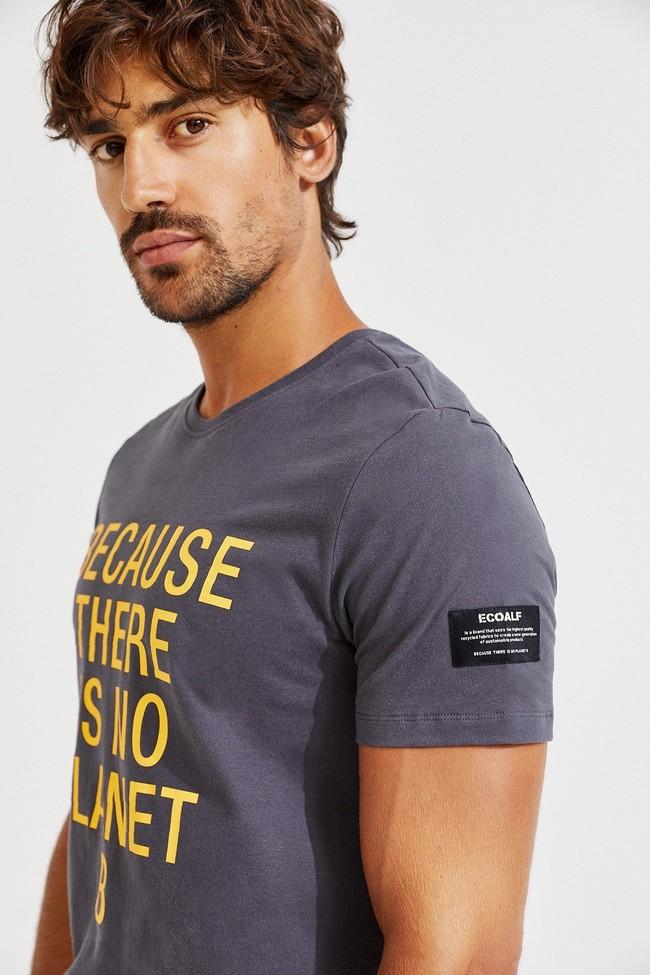 T-shirt gris imprimé jaune en coton bio - natal classic because - Ecoalf num 2