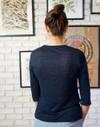 T-shirt zaza marine uni en 100% lin écologique - Aatise - 2
