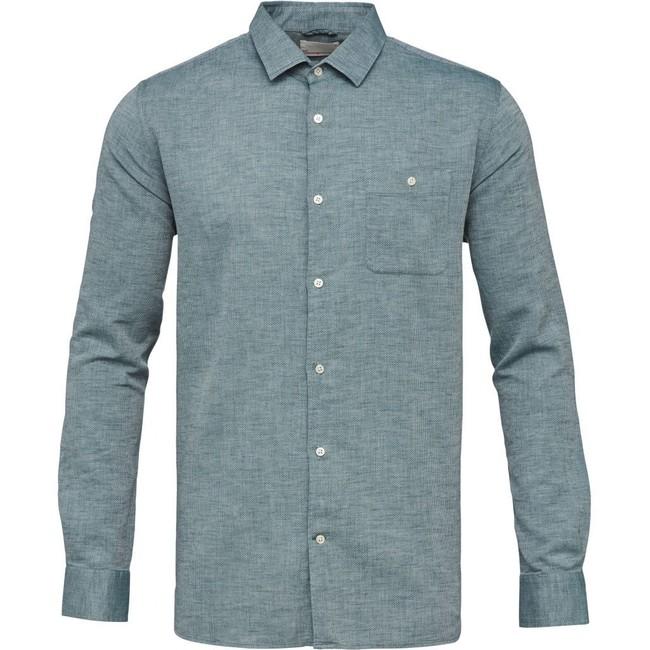 Chemise vert tissé en coton bio - structured shirt - Knowledge Cotton Apparel