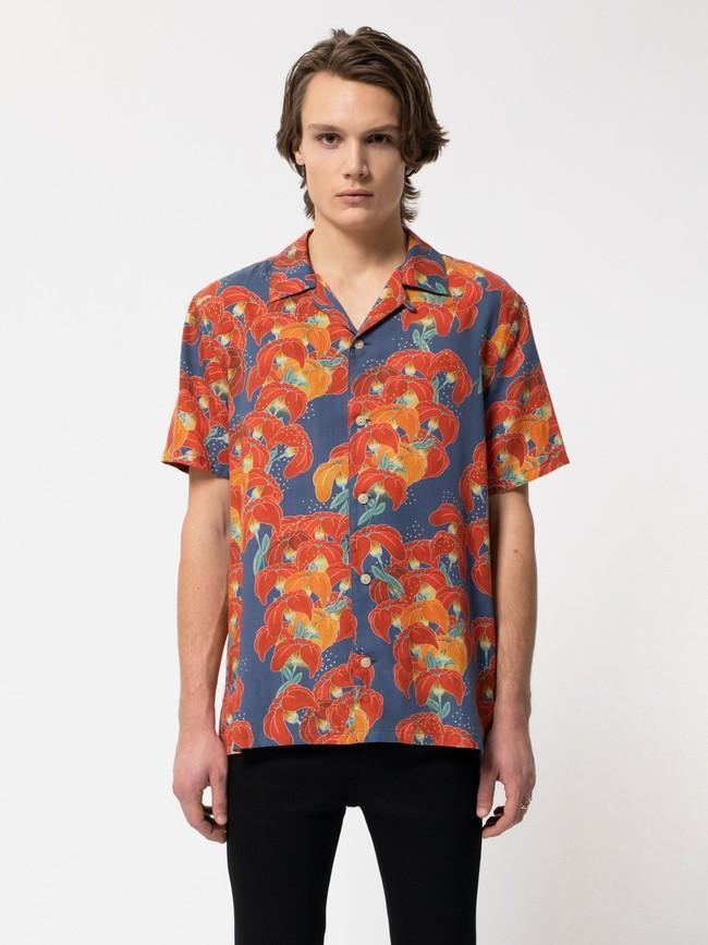 Chemise manches courtes à fleurs en coton bio  - arviid - Nudie Jeans