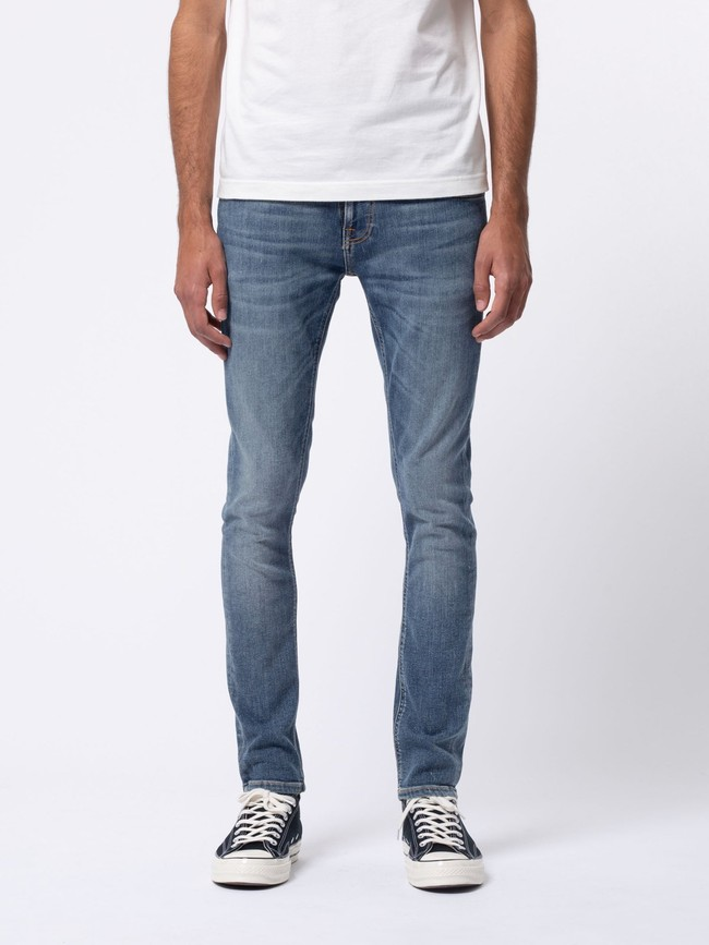 Jean skinny bleu délavé en coton bio - tight terry steel navy - Nudie Jeans