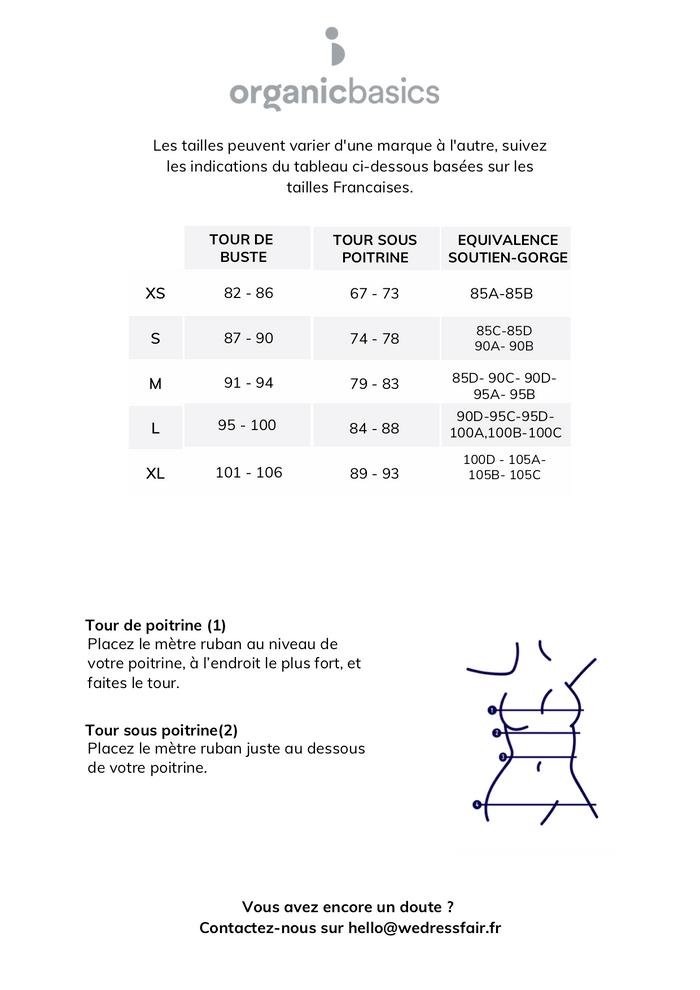 Guide de taille Organic Basics