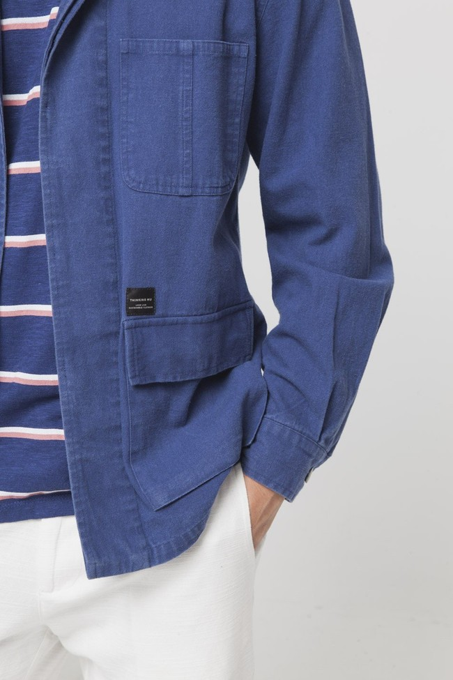 Veste bleue en coton bio - blue james - Thinking Mu num 3