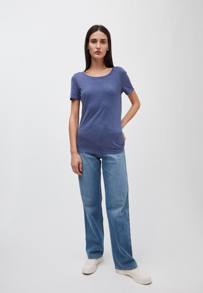T-shirt bleu indigo en coton bio - johannaa - Armedangels num 3