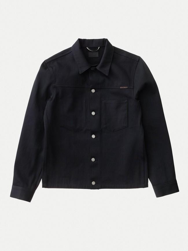 Veste en jean selvage noir en coton bio - ronny - Nudie Jeans num 3