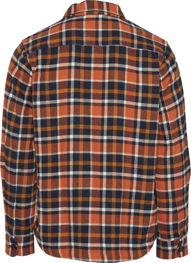 Surchemise à carreaux orange et marron en coton bio - pine - Knowledge Cotton Apparel num 1