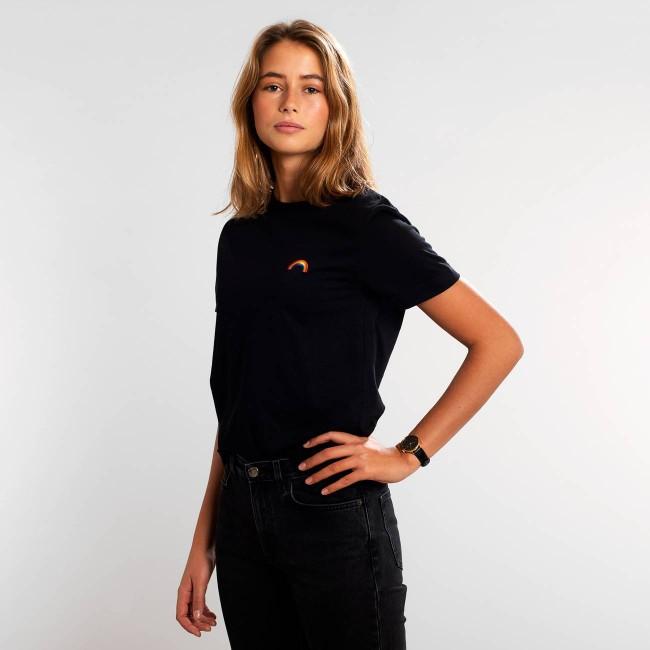 T-shirt noir motif arc-en-ciel en coton bio - rainbow - Dedicated