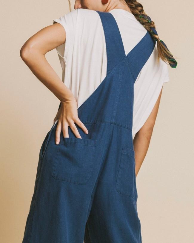 Combinaison bleu canard en chanvre et tencel - kasaï - Thinking Mu num 2
