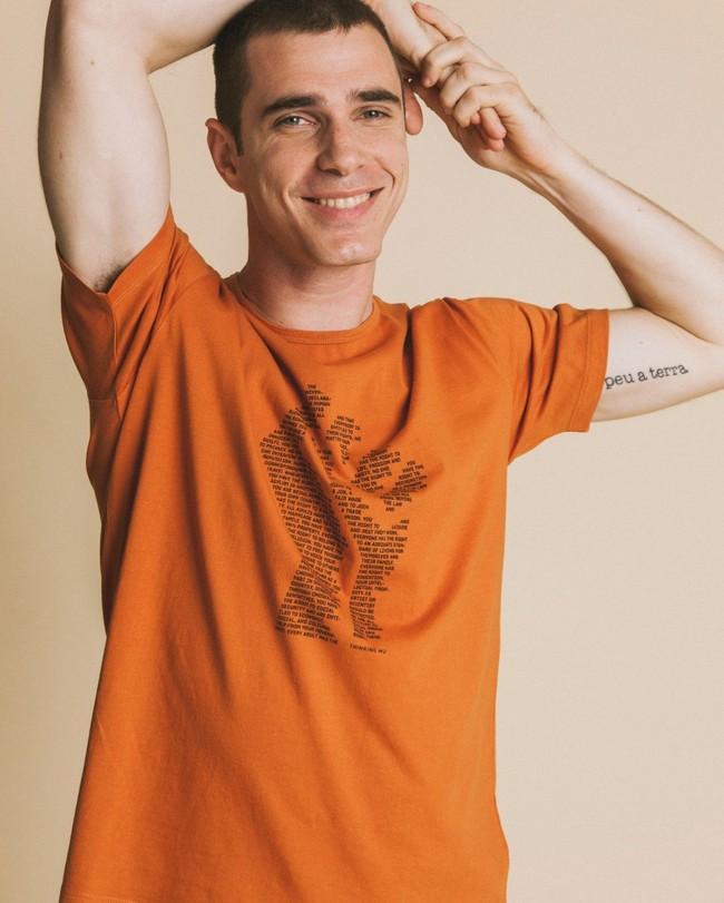 T-shirt imprimé terracotta en coton bio - human rights - Thinking Mu num 3