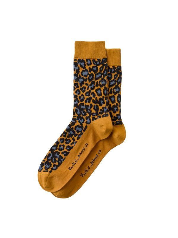 Chaussettes oranges à motifs léopard en coton bio - olsson leopard - Nudie Jeans