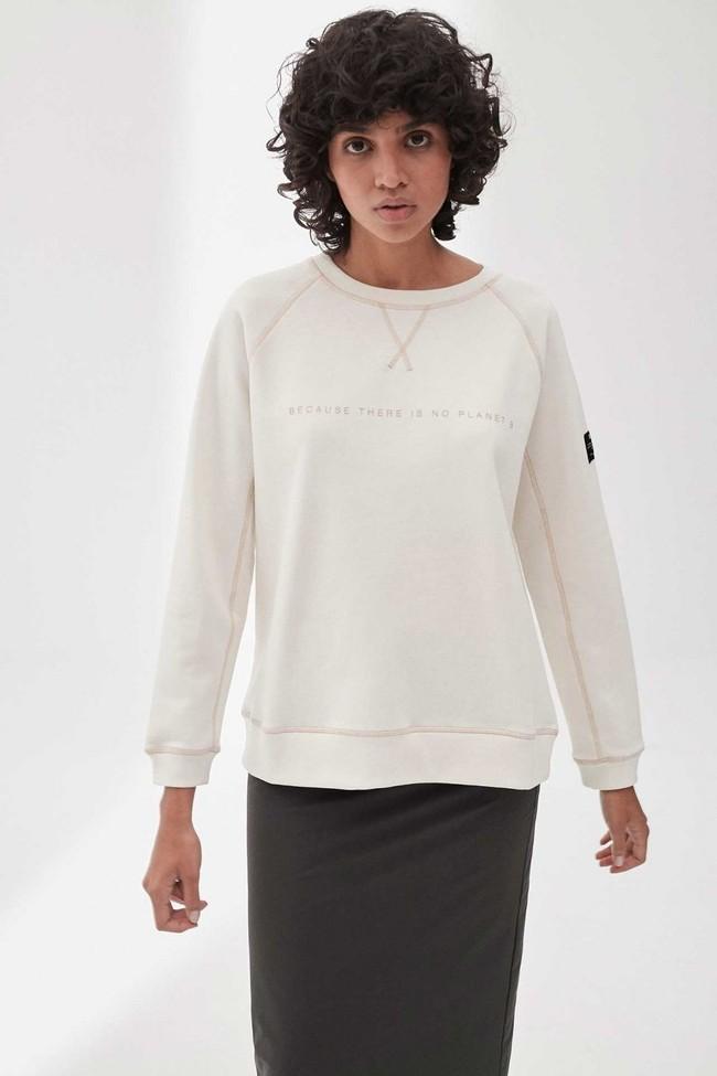 Sweat imprimé blanc en polyester recyclé - ross basic because - Ecoalf num 1