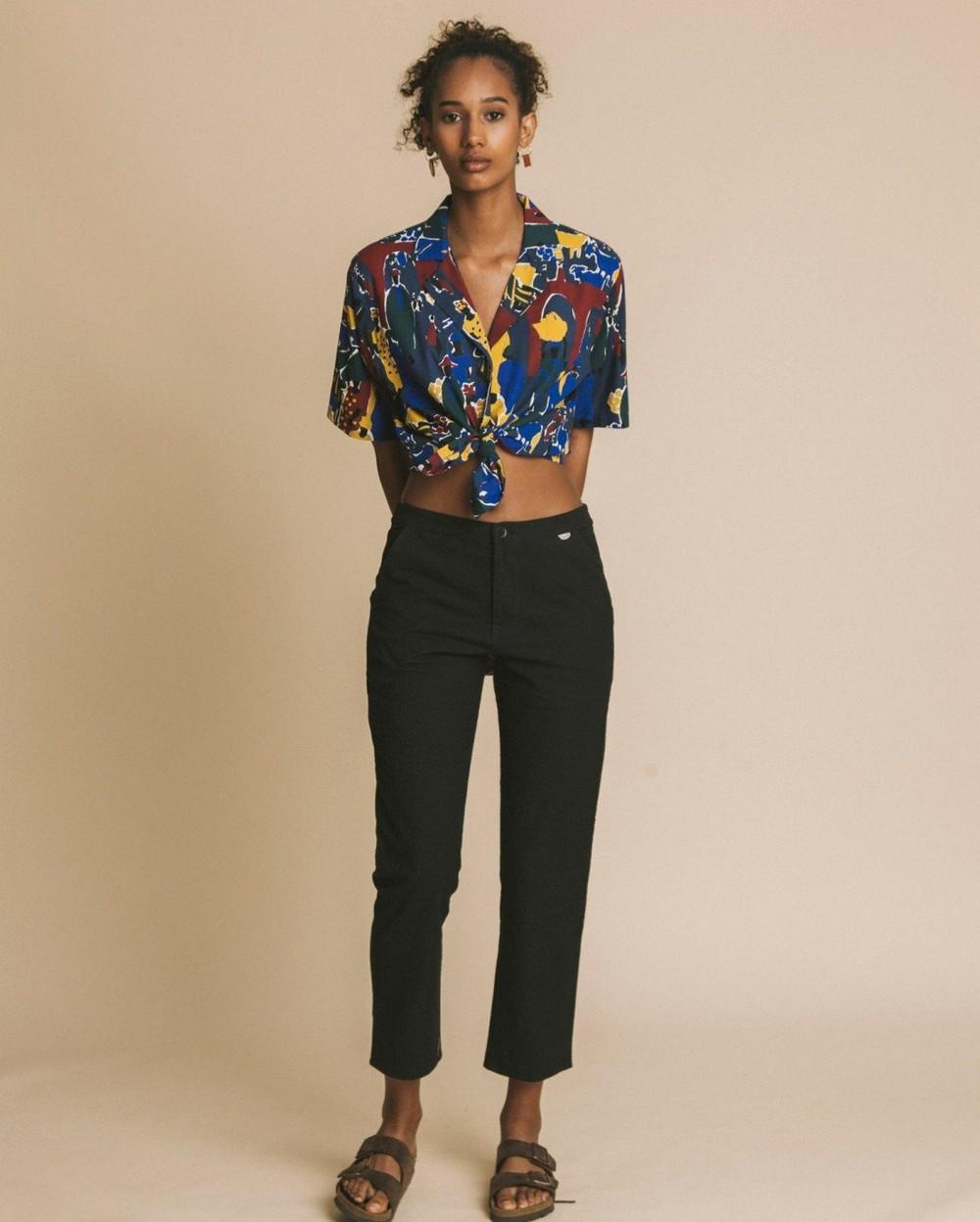 Pantalon noir en coton bio - dafne - Thinking Mu