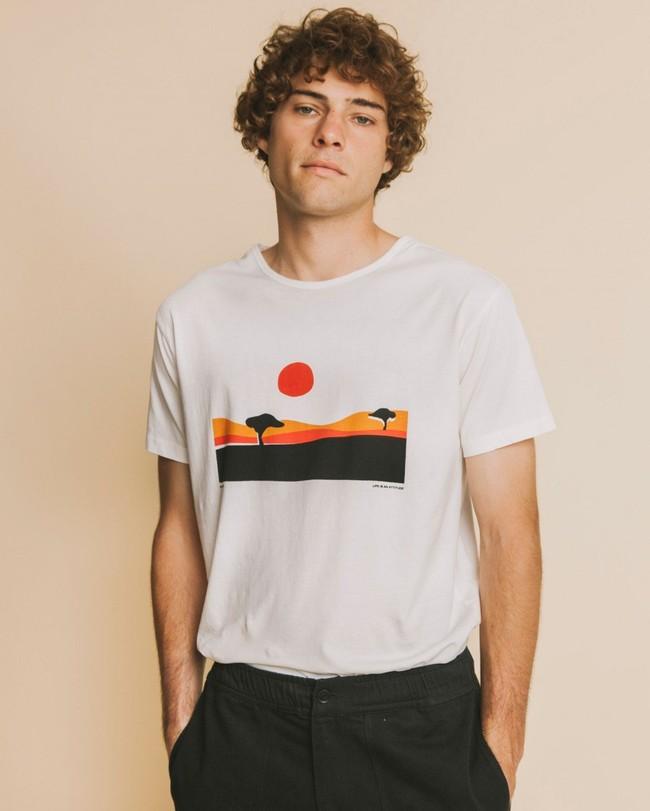 T-shirt blanc imprimé en coton bio - serengueti - Thinking Mu
