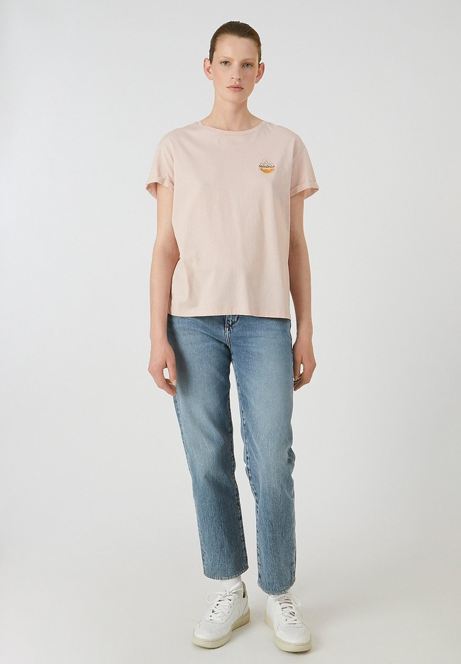 T-shirt rose pâle en coton bio - naalin girl scout - Armedangels num 1