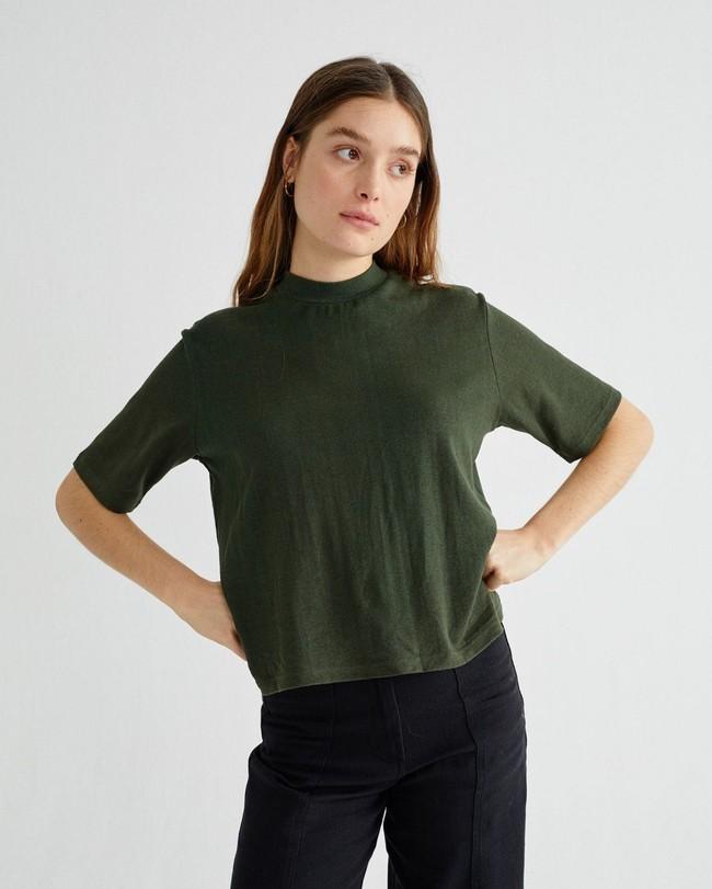 T-shirt manches 3/4 vert forêt en chanvre et coton bio - aidin - Thinking Mu