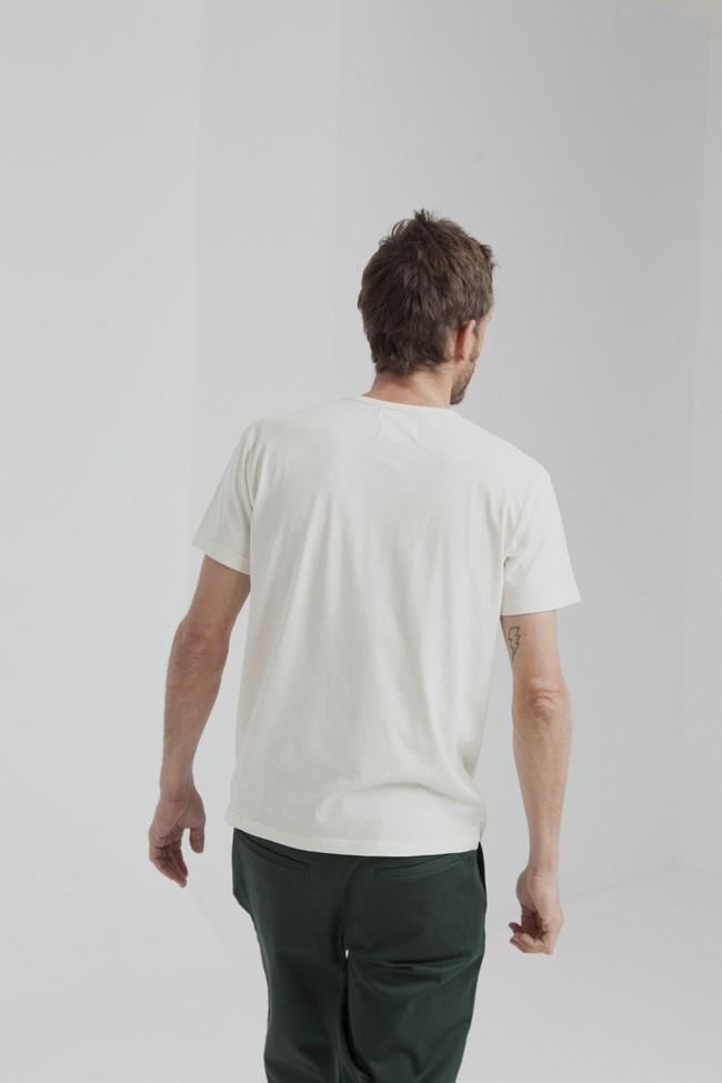 T-shirt uni blanc cassé avec poche en coton bio - Thinking Mu num 3