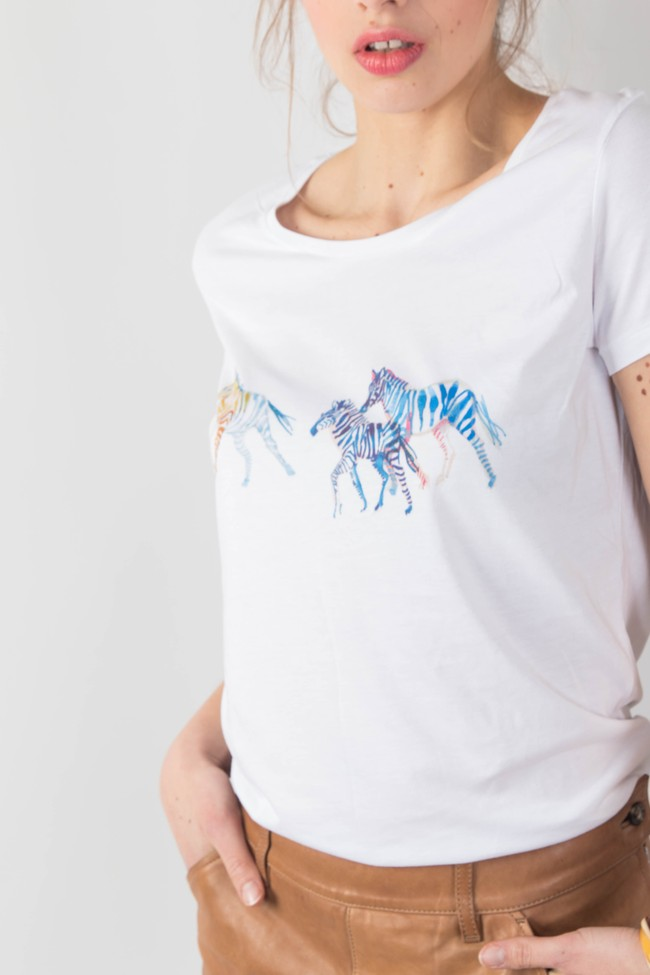 T-shirt motif zèbre - Bleu Tango num 2